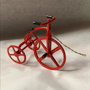 "2.5"" red metal bike tricycle Christmas ornament"